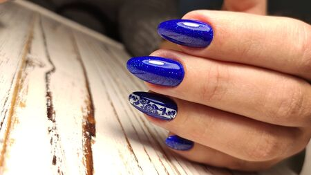 Youth manicure design, beautiful female hands