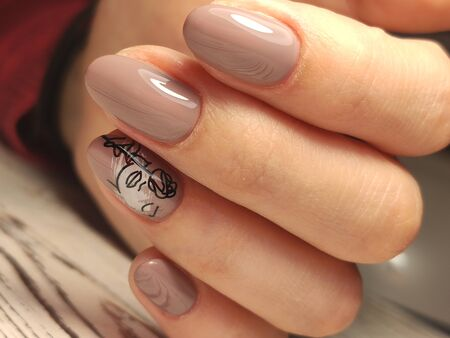 Youth manicure design, beautiful female hands Stok Fotoğraf - 134587196