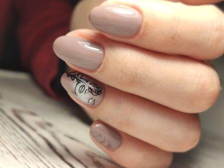 Youth manicure design, beautiful female hands