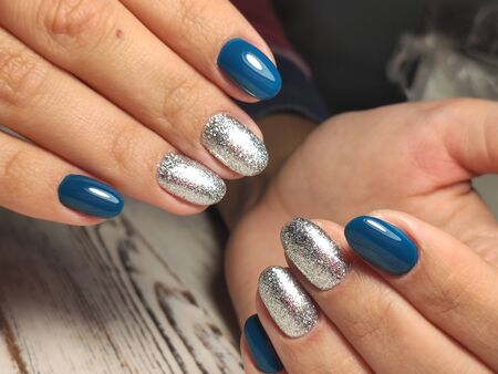 gel lacquer manicure on a textured trendy background