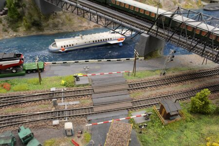 Diorama of the miniature modelling toy city showing the life scene in miniature as natural life in a small village.