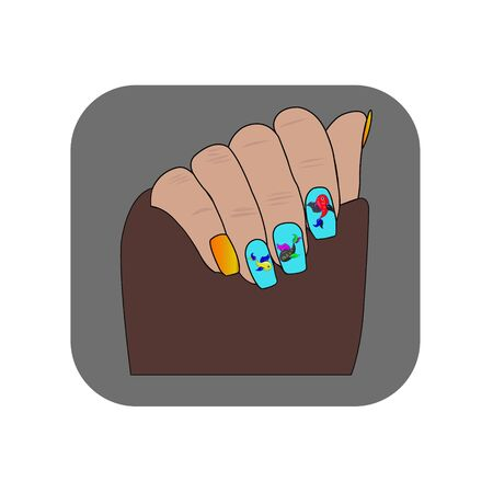 Nails on the hands are painted with red nail polish. Nail extensions. vector