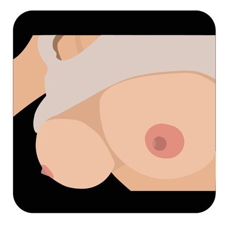 Big boobs. Set of Line art Symbols isolated on black background.