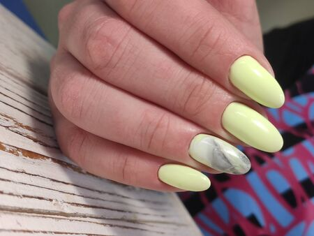 Amazing natural nails. Women's hands with clean manicure. Gel polish applied. Stock fotó