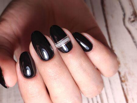 Manicured nails Nail Polish art design. Nail Polish. Beauty hands. Stok Fotoğraf