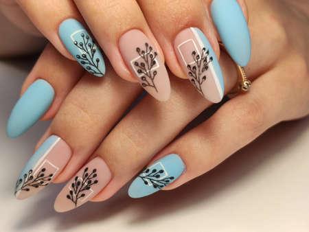 fashion manicure of nails on a beautiful background