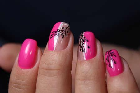 sexy pink manicure on long beautiful nails