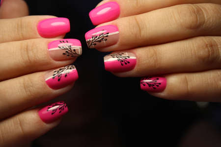 Closeup photo of a beautiful female hands with elegant manicure