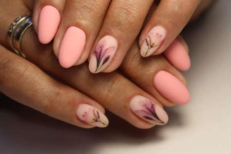 Nail Polish. Art Manicure. Colored Nail Polish. Beauty hands.