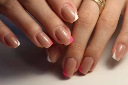 Amazing natural nails. Womens hands with clean manicure