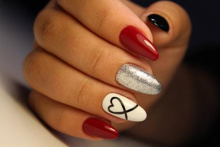 stylish design of manicure on beautiful nails