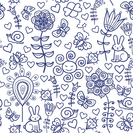 Cute colorful floral seamless pattern with rabbit, snail and butterfly