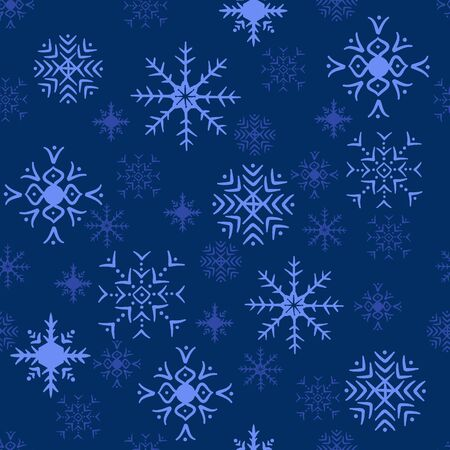 Seamless snowflake pattern blue background  Stock Photo - 18437716