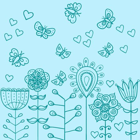 Funny colorful illustration with abstract flowers and butterfly Vector