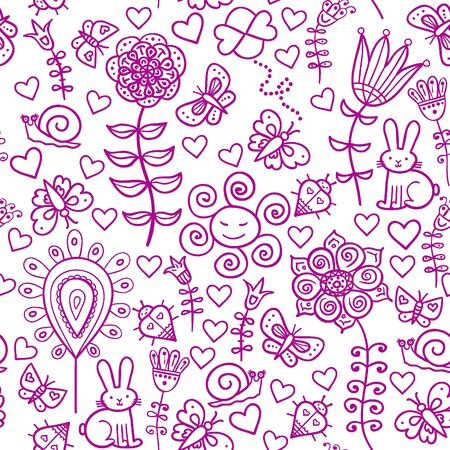Cute colorful floral seamless pattern with rabbit, snail and butterfly Vector