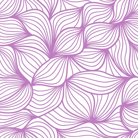 Vector seamless abstract hand-drawn pattern with waves and clouds