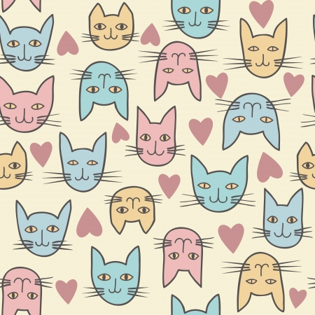 Funny seamless texture with cats  Seamless pattern can be used for wallpaper, pattern fills, web page background,surface textures  Vector
