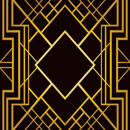 illustration line art: Abstract geometric frame in art deco style