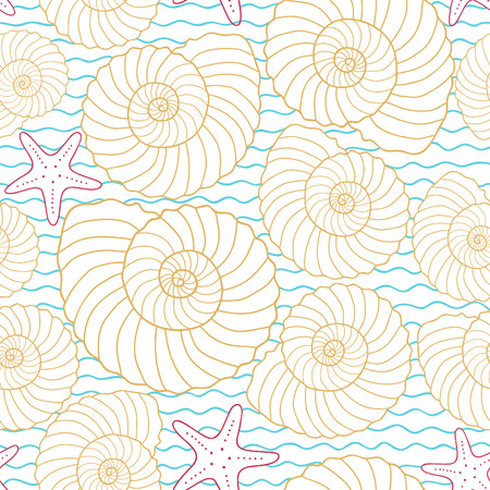 cockle: Seamless sea pattern, vector illustration