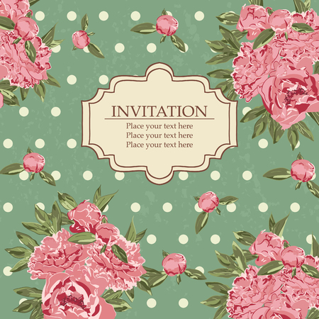 art deco background: Vintage florar invitation card Illustration
