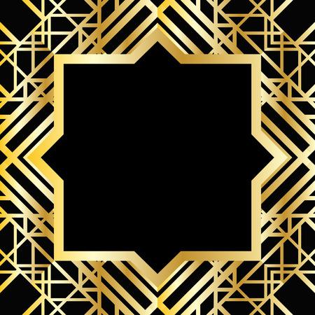 line art: Marco geom�trico abstracto en estilo art deco