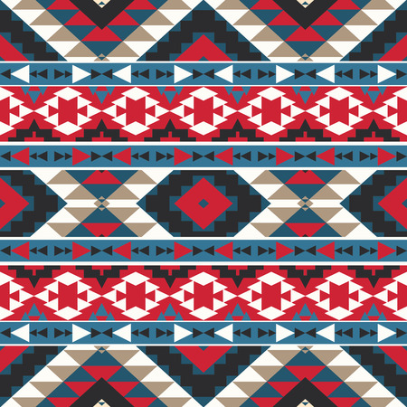 aztec: Seamless colorful ethnic pattern, vector illustration