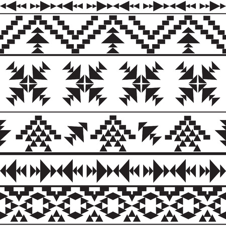 american indian aztec: Seamless black and white ethnic pattern, vector illustration Illustration