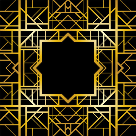 art deco border: Abstract geometric pattern in art deco style