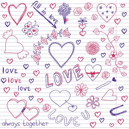 february 14th: Love  Peace Sketchy Notebook Doodles Design Elements on Lined Sketchbook Paper Background- Vector Illustration Illustration