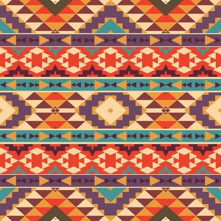 cultura maya: Patrón étnico colorido inconsútil, ilustración vectorial