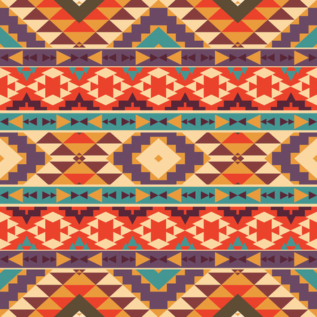 american indian aztec: Seamless colorful ethnic pattern, vector illustration