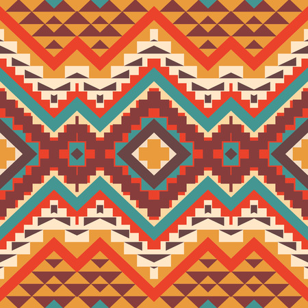 native american indian: Seamless colorful ethnic pattern, vector illustration