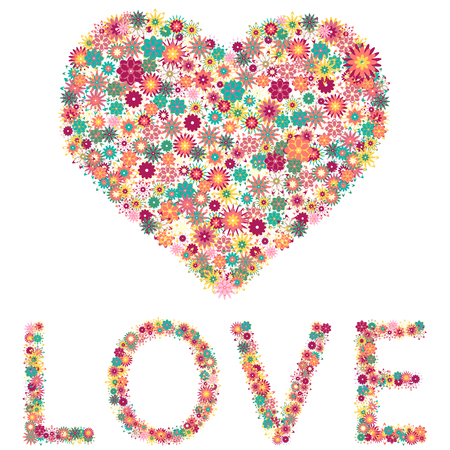 word love: Floral heart