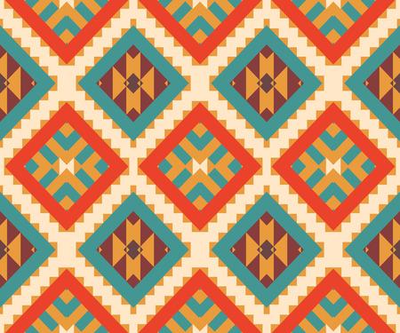 シームレスなカラフルなエスニック パターン、ベクトル イラスト