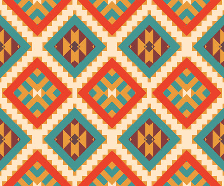 art abstract background: Seamless colorful ethnic pattern, vector illustration