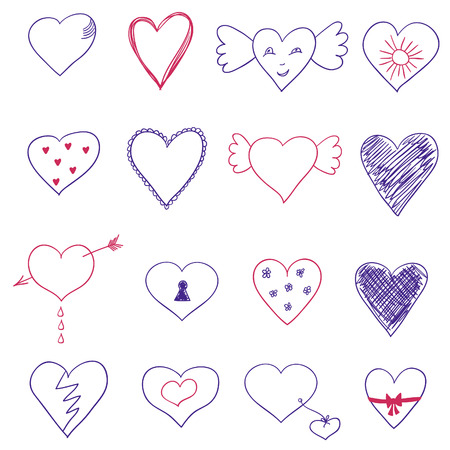 february 14th: Set of hand drawn hearts