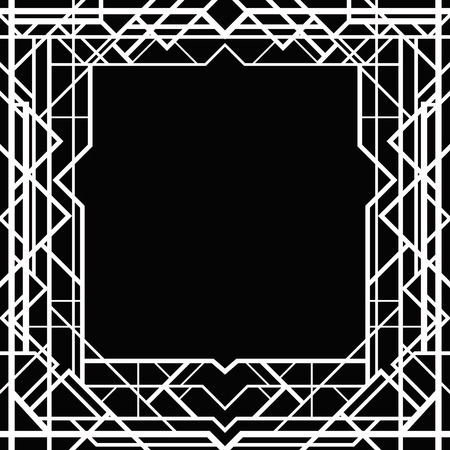 art deco border: Black and white frame in art deco style Illustration