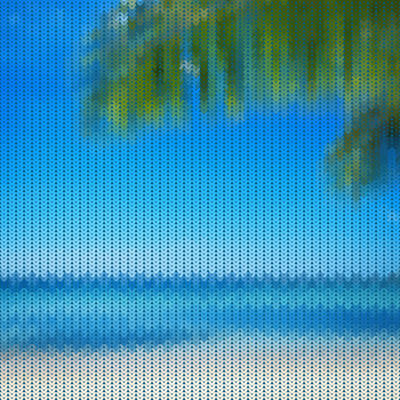 samui: Seamless knitted pattern with palm branch and blue sea