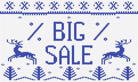 scandinavian christmas: Winter Christmas knitted pattern, scandinavian style, vector illustration