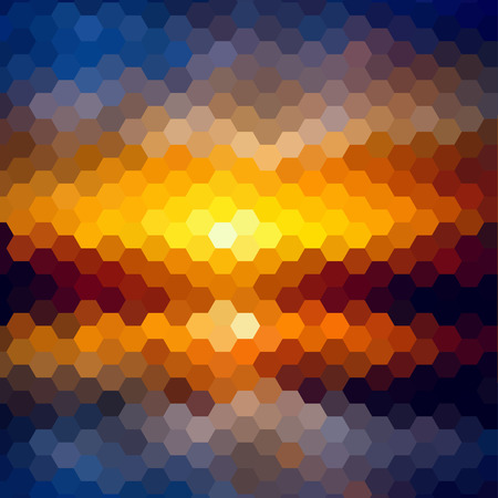 sky: Sunset landscape pattern of geometric shapes. Colorful mosaic. Illustration