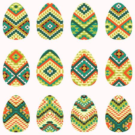 navajo: Set of easter eggs in navajo style Illustration