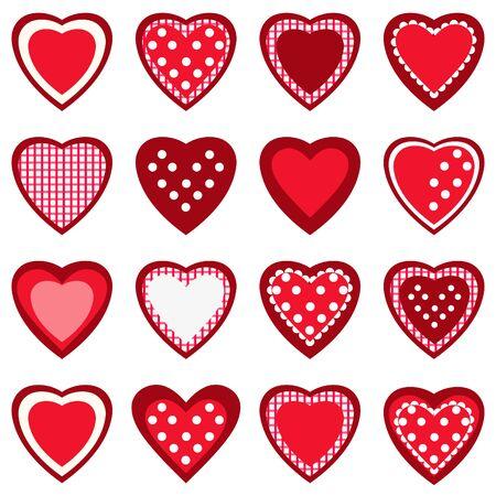 Patrón sin fisuras con corazones rojos