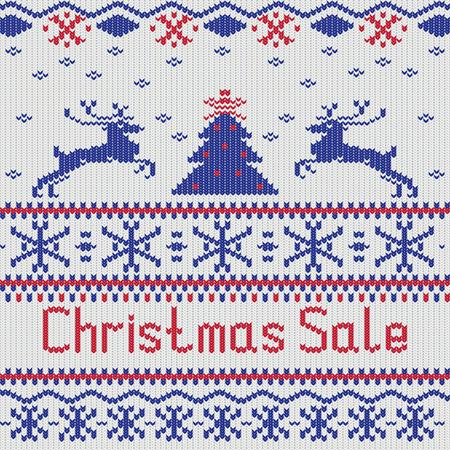 scandinavian: Winter Christmas knitted pattern, scandinavian style, vector illustration