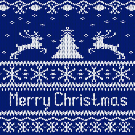 scandinavian christmas: Merry Christmas. Scandinavian style seamless knitted pattern with deers and christmas tree. Vector illustration. Illustration