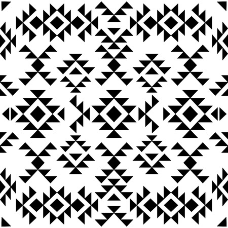 black american: Seamless black and white navajo pattern