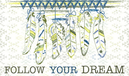 Follow your dream. Card with feathers in navajo style. Vector illustration.