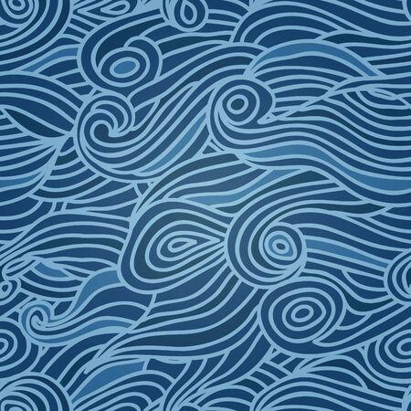 deep sea: Waves seamless pattern, deep sea background