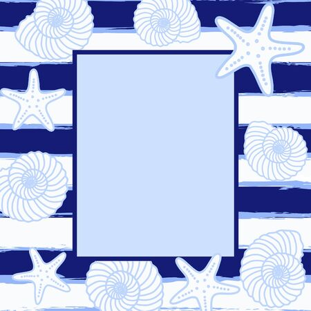 Postcard or invitation with sea background. Frame in sea style. Vector illustration. Illustration