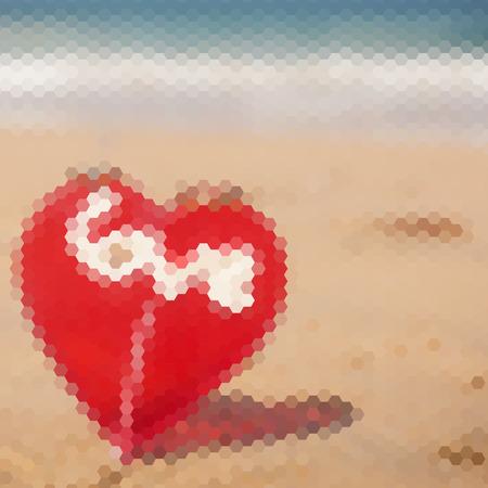sand beach: Red heart on a sand beach, triangle pattern