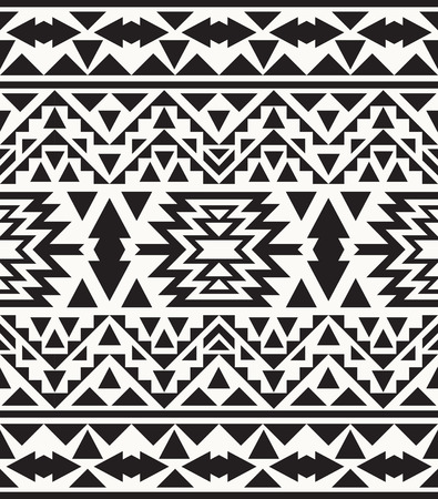 american indian aztec: Seamless black and white navajo pattern